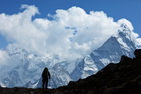 Climber in Himalayan mountain,Nepal photo