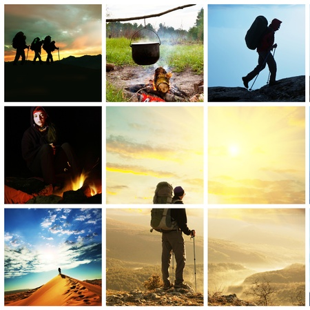 adventure sports: Hiking collage