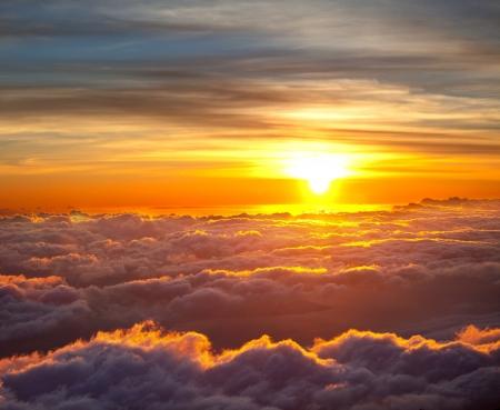 Sunset scene on Haleakala,Hawaii Stock Photo