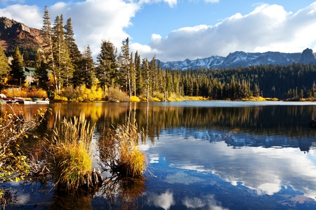 mammoth: Picturesque rural landscapes on Mammoth lake Stock Photo