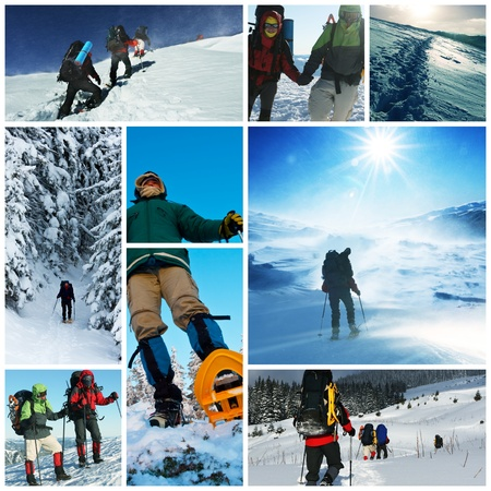 adventure sports: hikers with snowshoes in winter