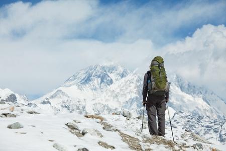 climber: Climber in de Himalaya gebergte