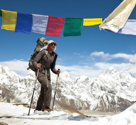 trekker: hike in Everest region