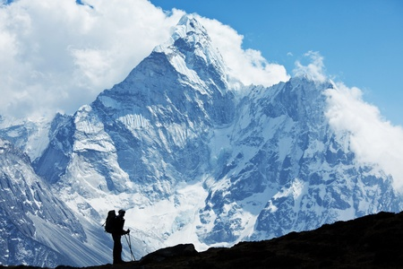 backpackers: hike in Everest region