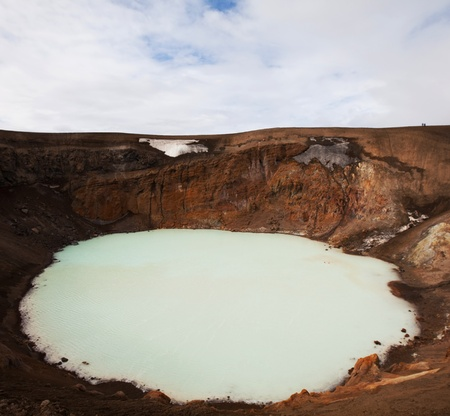crater lake: Vitio geothermal lake ,Askja ,Iceland Stock Photo