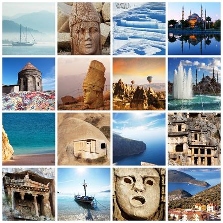 pavo: Collage de pa�s de Turqu�a Foto de archivo
