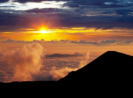 sunset on  Mauna Kea,Hawaii