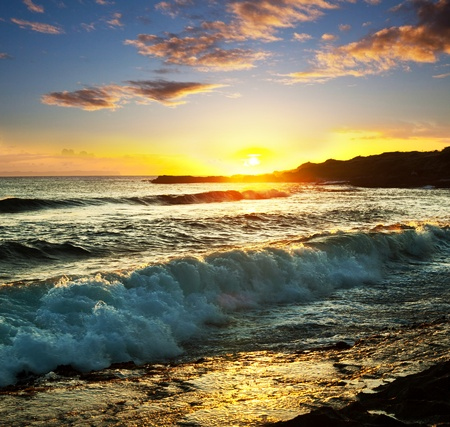 paisajes: mar puesta de sol