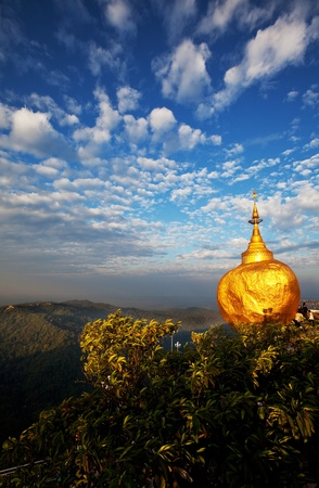 the stupa: Golden Rock stupa in  Myanmar.