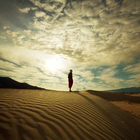 Hike in desert,Death Valley National Park,USA photo