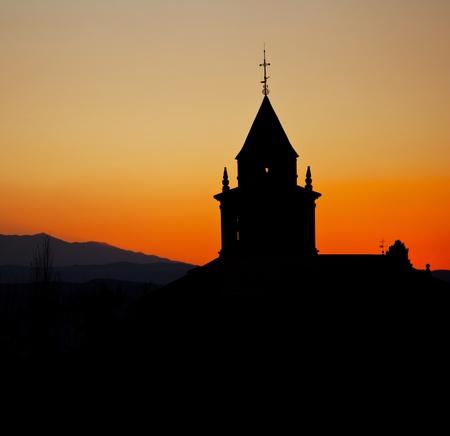 monastery nature: monastery silhouette Stock Photo