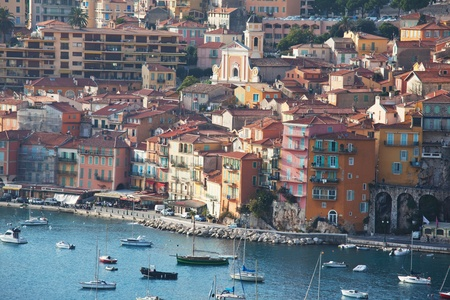 villefranche sur mer: View of luxury resort and bay of Cote dAzur in France.