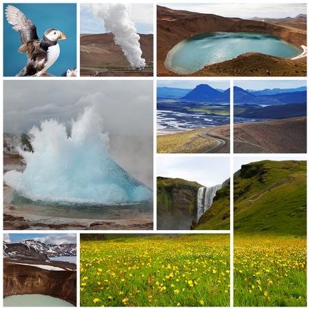 Icelandic landscapes collage photo