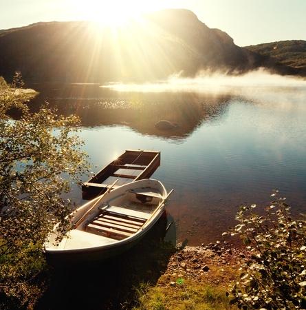 serenity: mountains lake Stock Photo