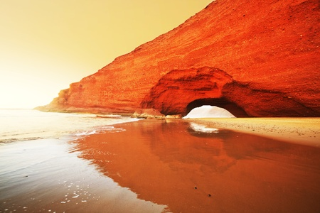 rock formations: Arch rock formation on the beach, Morocco