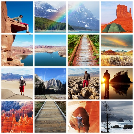 hiking collage Stock Photo
