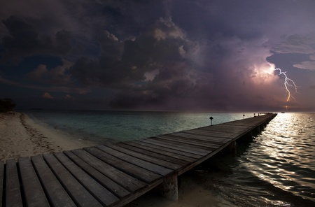 thunderstorm on beach photo