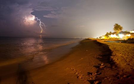 thunderstorm on beach Stock Photo - 13345421