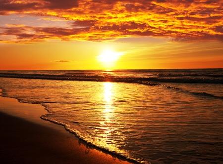 sunrise beach: sea sunset