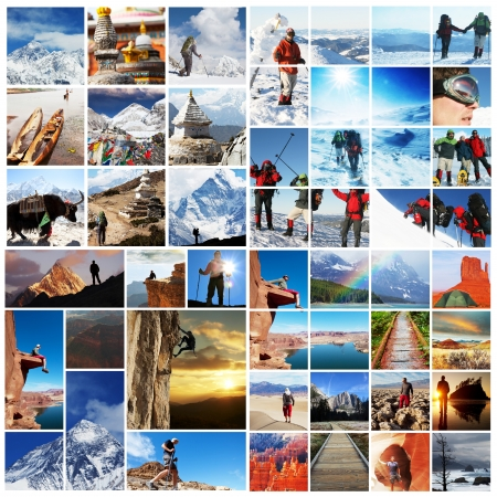collage people:  hiking collage Stock Photo