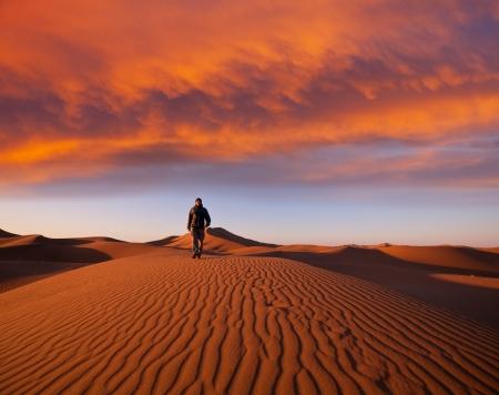 ナミブ砂漠をハイキングします。 写真素材