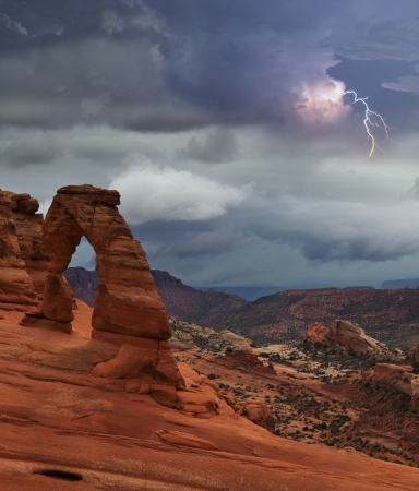 rock arch:  Delicate Arch in Arches National Park, Utah. Stock Photo