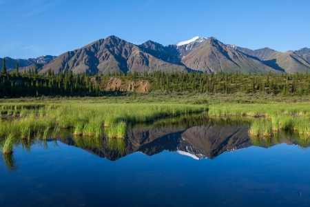 Mckinley reflection in lake on Alaska photo
