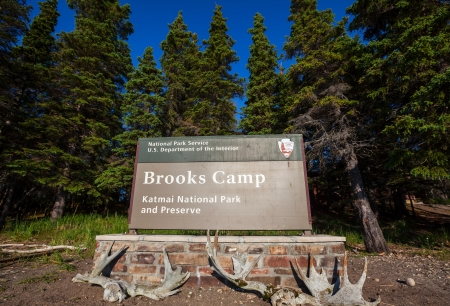 brooks camp: Brooks Camp entrance in Katmai National Park,Alaska