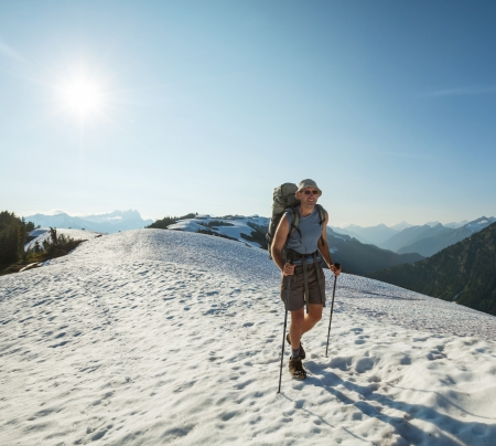 Hiker in  mountains photo