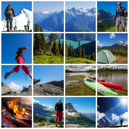 outdoor sports:  hiking collage Stock Photo