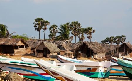 fishing huts: traditional village on Sri Lanka Stock Photo