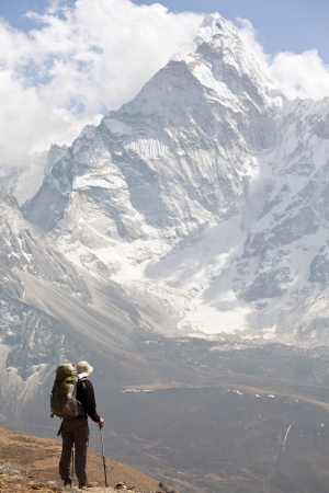 mountain peak: Climber in Himalayan mountain