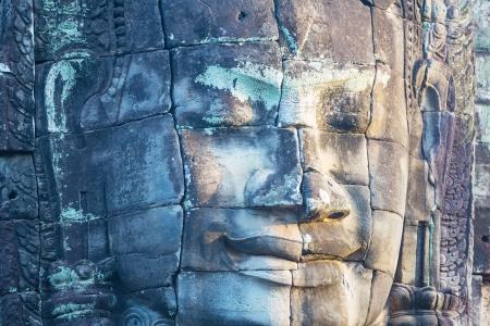 cabeza de buda: Bayon Templo en Angkor, Camboya Foto de archivo