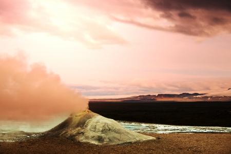 fumarole: Fumarolas termales en Islandia Foto de archivo