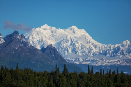 capped: McKinley peak Stock Photo