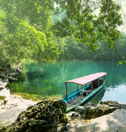 boat in Ba Be National Park,Vietnam photo