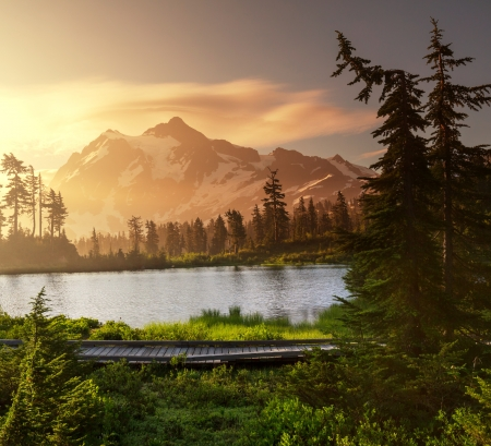 vista: Picture Lake and Mount Shuksan,Washington Stock Photo