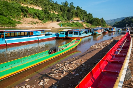 laos: traditional boats in Laos Stock Photo