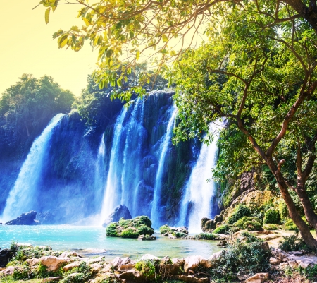 Ban Gioc - Detian waterfall in  Vietnam photo