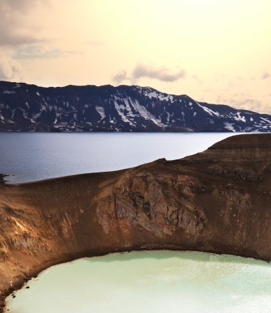 crater highlands: Vitio geothermal lake ,Askja ,Iceland Stock Photo