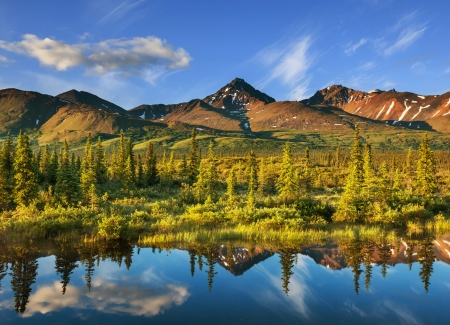 rivers mountains: Serenity lake in tundra on Alaska Stock Photo
