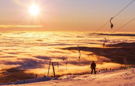 christmas landscape: ski resort