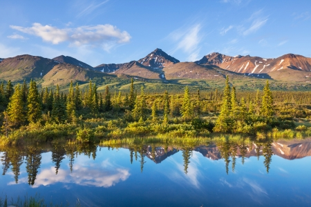 refuge: Serenity lake in tundra on Alaska Stock Photo