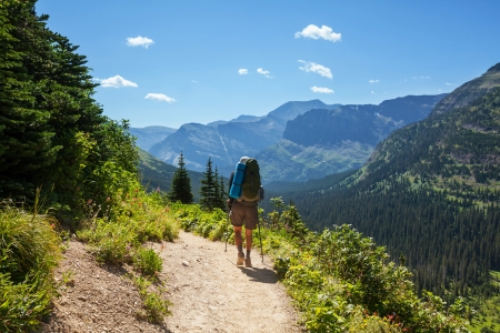 Hike in Glacier National Park,Montana Stock Photo