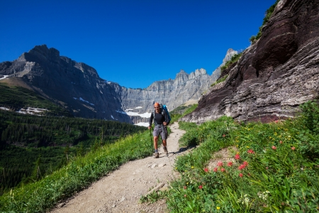 Hike in Glacier National Park,Montana Stock Photo - 18522032