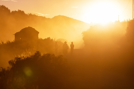 People silhouette in Bolivia photo