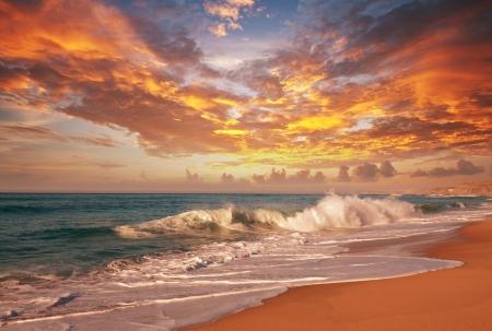 hawai: mar puesta de sol