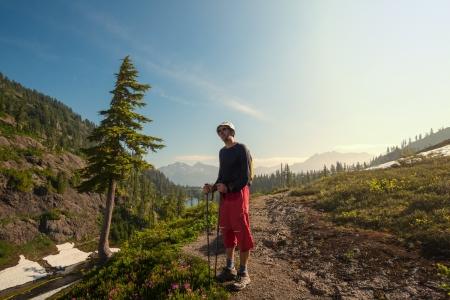 mt baker: hiker in Mt Baker area, Washington