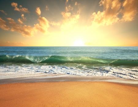 hawaiana: mar puesta de sol