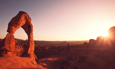 Delicate Arch in USA at sunset photo